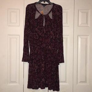 Burgundy patterned long sleeve dress